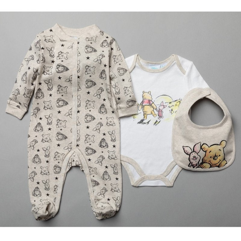 Baby 3 Piece Winnie The Pooh All In one, Bodysuit & Bib Set.(0-9 Months)-S19091