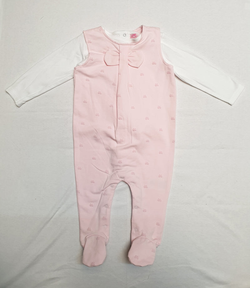 Girls Baby Pink 2pc Top & Dungaree set (0-9 Months) S19377 - Kidswholesale.co.uk