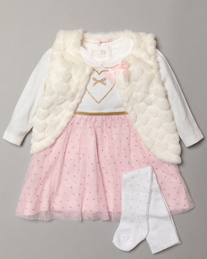 Girls 3 pc Tights, Fur Gilet, Top Outfit - Pink Sparkle (3-24m) S19417 - Kidswholesale.co.uk
