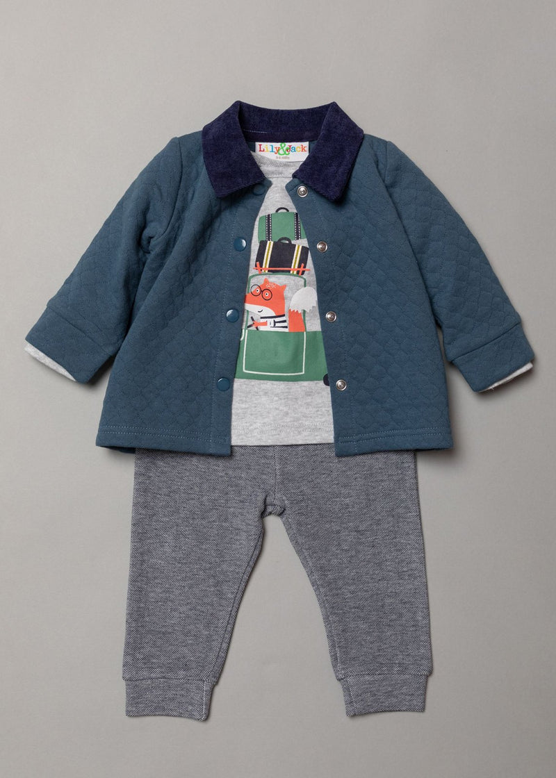 Boys 3pc Set - Quilted Jacket/Trouser/Top -Fox (3-24m) S19488 - Kidswholesale.co.uk