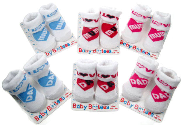 White/Colour MUM/DAD Infant socks
