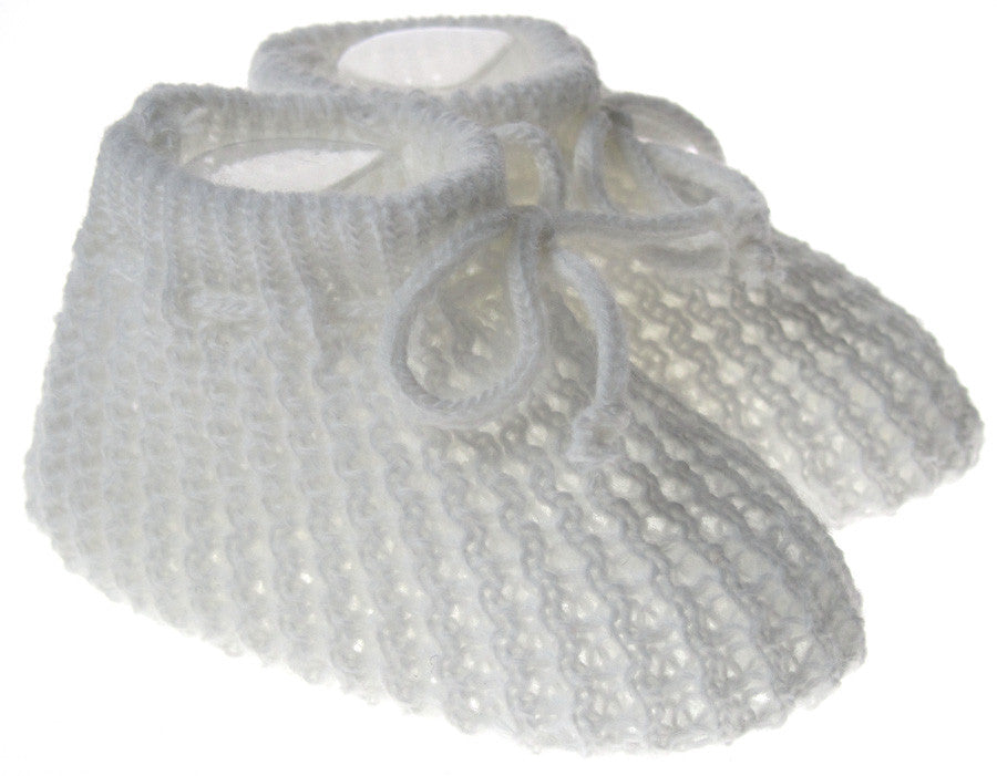 White Knitted Infant Bootees