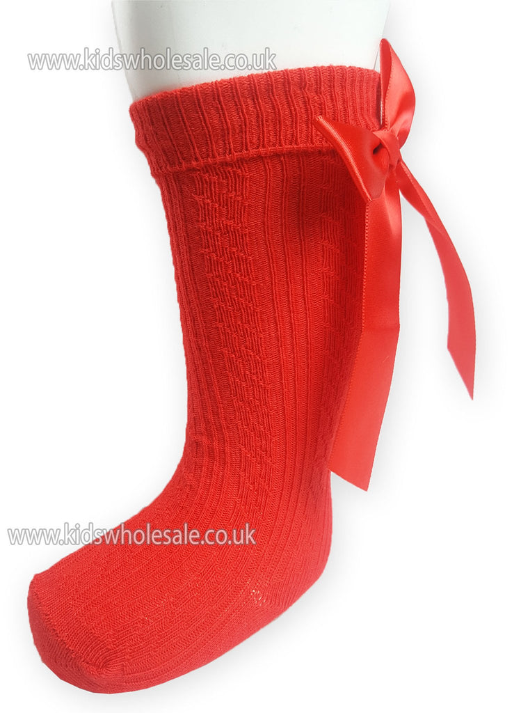 Children Ribbed Knee Length Red Socks W/Stitched Bow S51-R