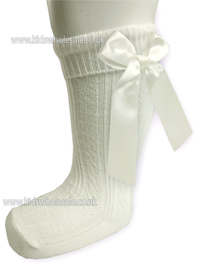 Infants Ribbed Knee Length Socks W/Stitched Bow: S41-C