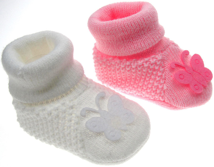 Knitted Butterfly Girls Bootees