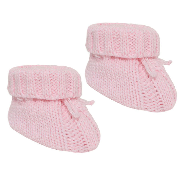 PINK ACRYLIC CABLE KNIT BABY BOOTEES WITH TURNOVER & BOW - S415P
