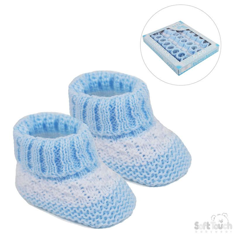 ACRYLIC BABY BOOTEES WITH STRIPE : S437-B - Kidswholesale.co.uk