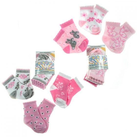 Girls 3 Pack Socks 0-18 Months-S85