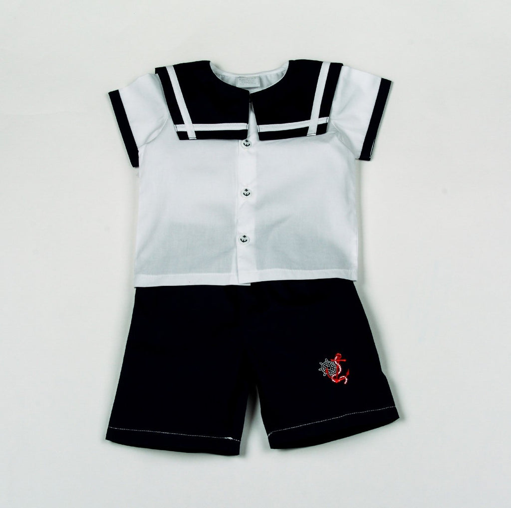 Baby Boys Sailor T-Shirts & Shorts Set - Anchor - 0-9M (H1805)