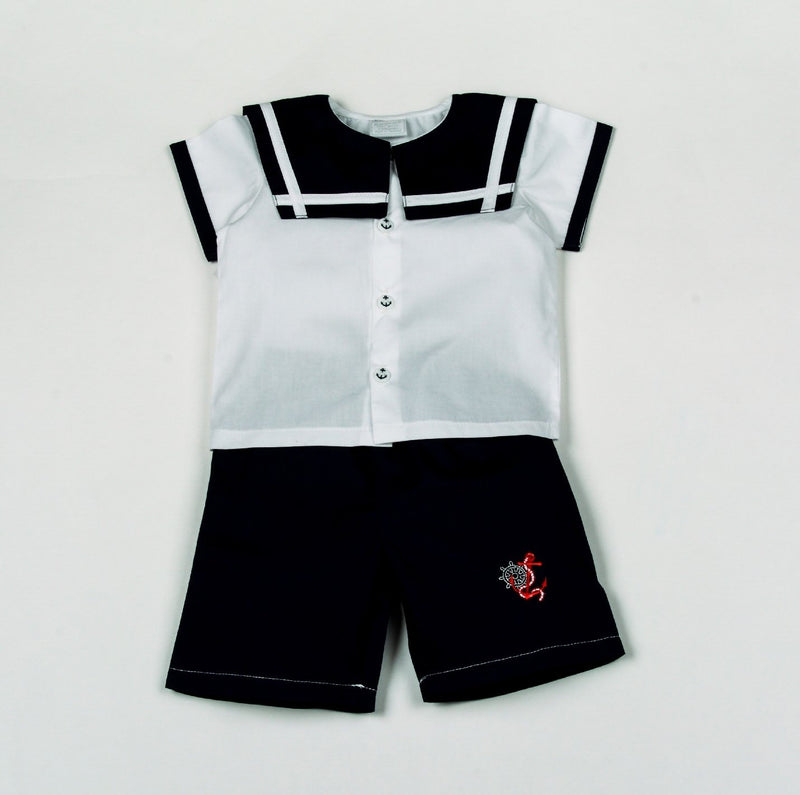 Baby Boys Sailor T-Shirts & Shorts Set - Anchor - 0-9M (H1805) - Kidswholesale.co.uk