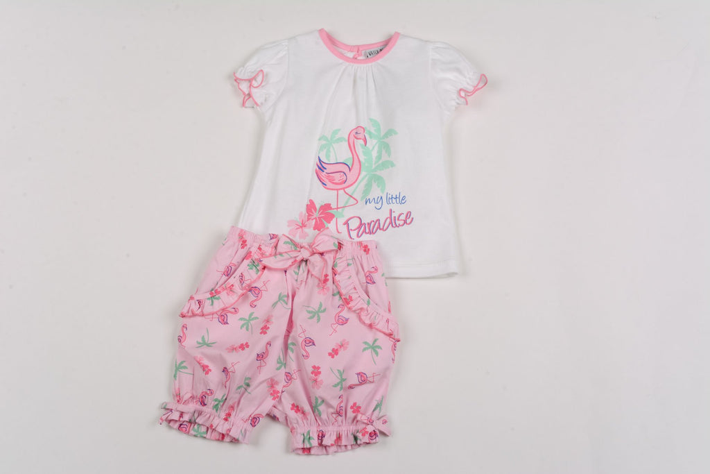 Baby Girls T-shirt & Short Set - Paradise - 1-2Yrs (G3226)