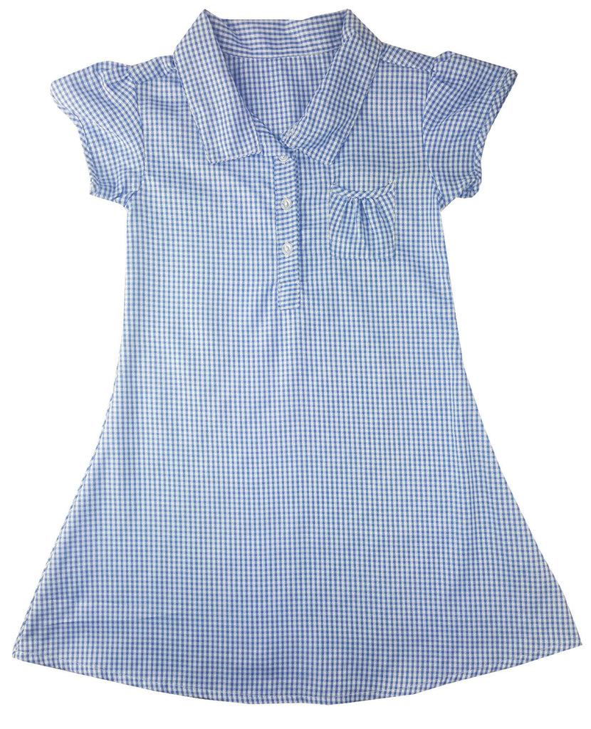 Girls Checkered Gingham Blue School Dress (Style#0087)