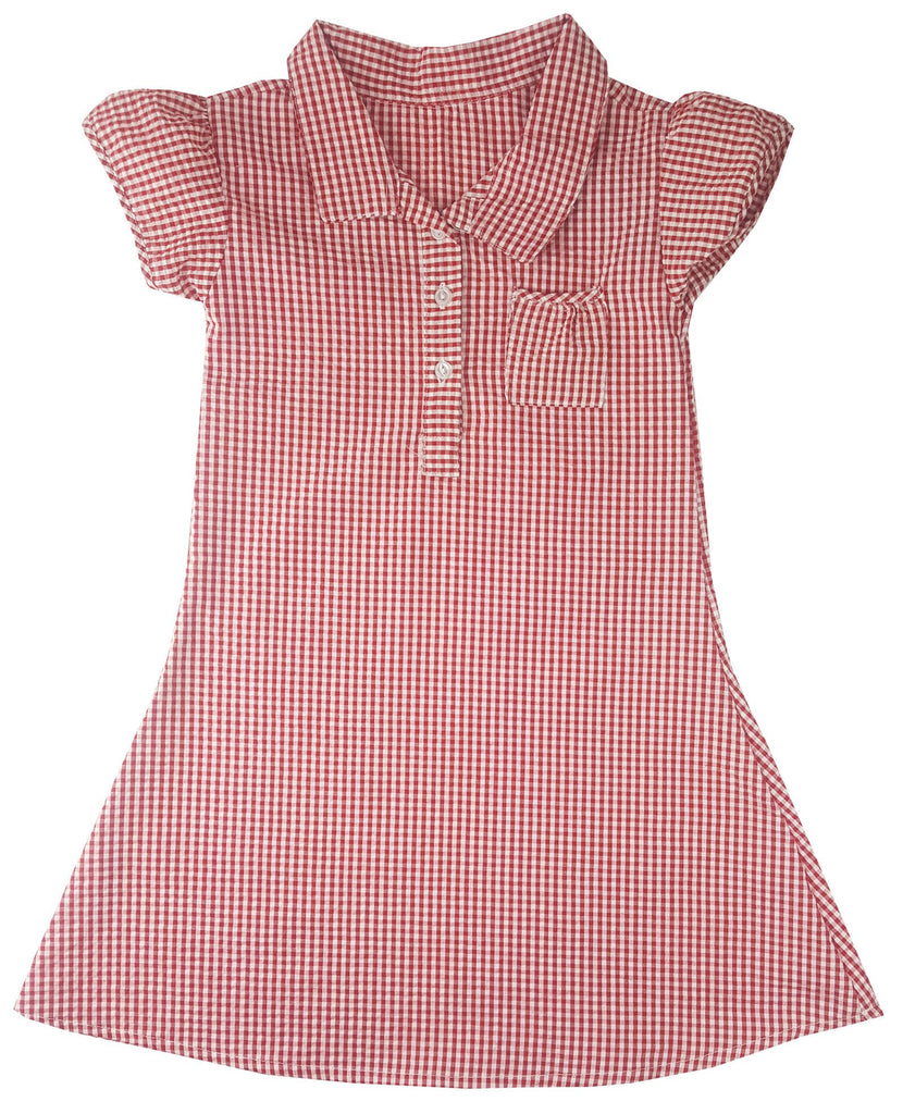 Girls Checkered Gingham Red School Dress (Style#0088)