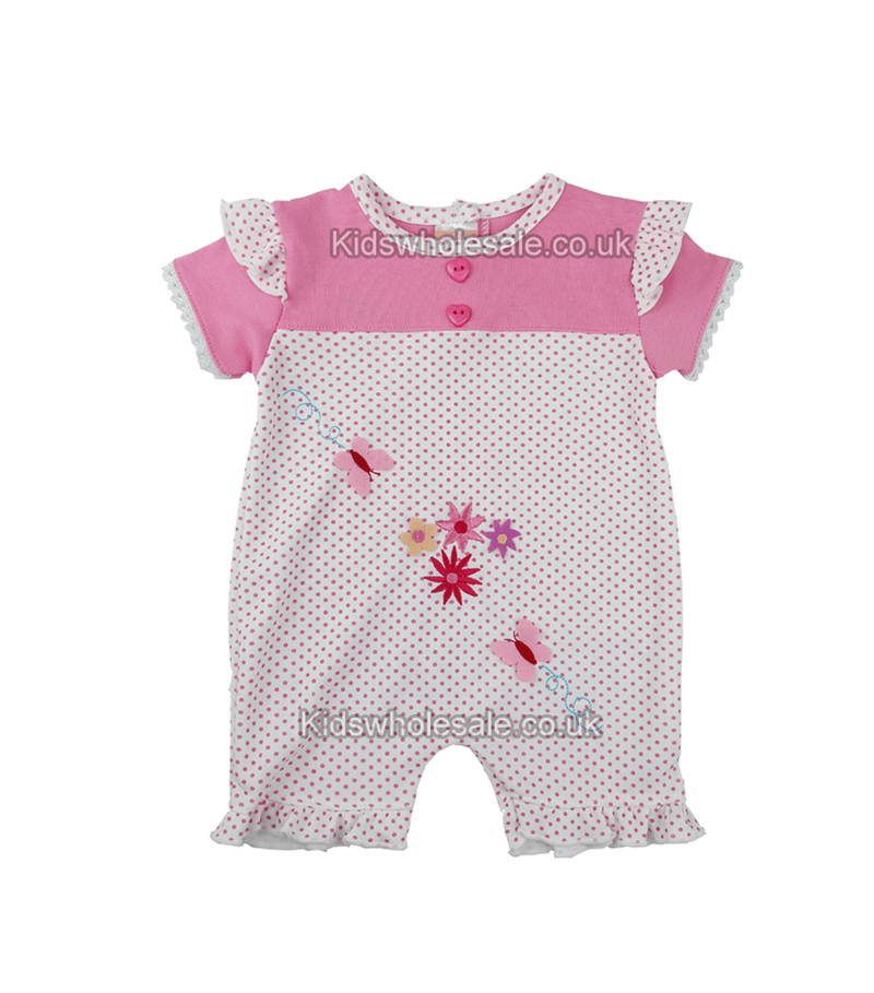 Pink Baby girl Dungaree, embroidered with flowers and butterfly (Style7127) - Kidswholesale.co.uk