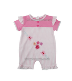 Pink Baby girl Dungaree, embroidered with flowers and butterfly (Style7127)