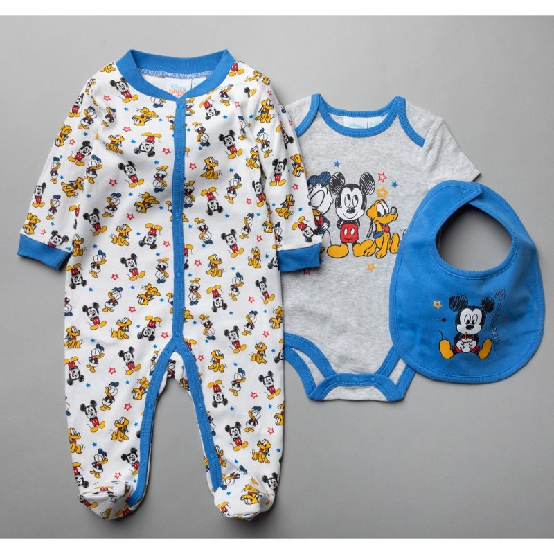 Baby 3 Piece Mickey Mouse All In one, Bodysuit & Bib.(0-9 Months)-T20656
