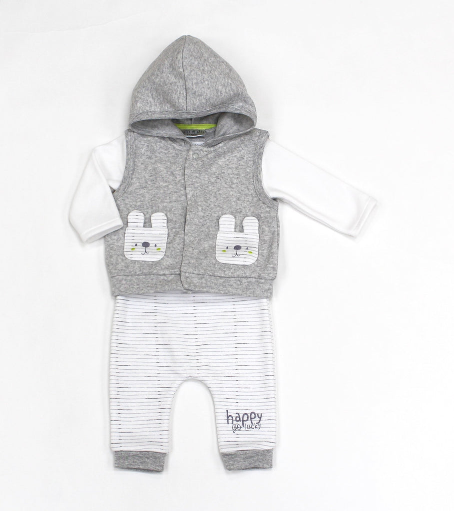 Baby Boys Fleece 3Pc Hooded Gilet, Top & Pant Set - Lion - 0-9M (L1059)