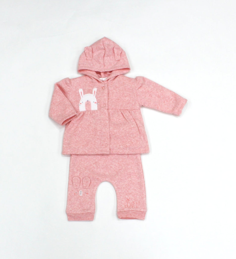 Baby Girls Fleece 3Pc Hooded Jacket, Top & Pants Set - Bunny - 0-9M (L1056)