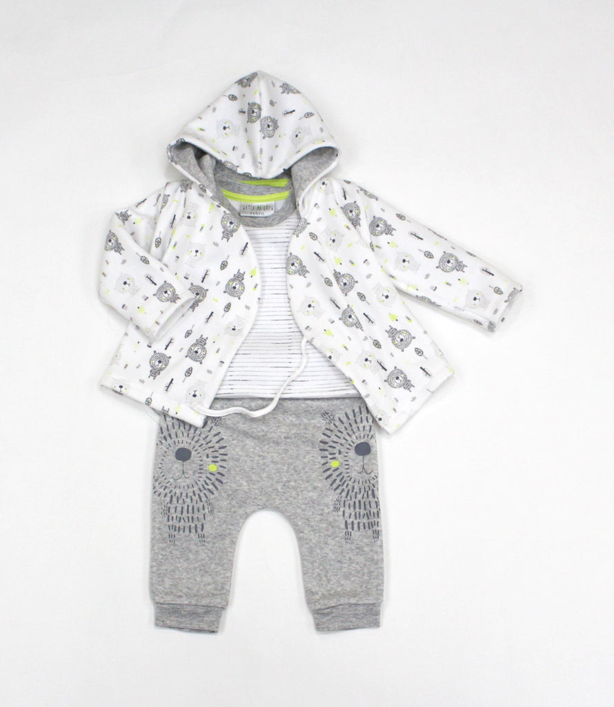 Baby Boys Fleece 3Pc Hooded Jacket, Top & Pant Set - Lion - 0-9M (L1060)