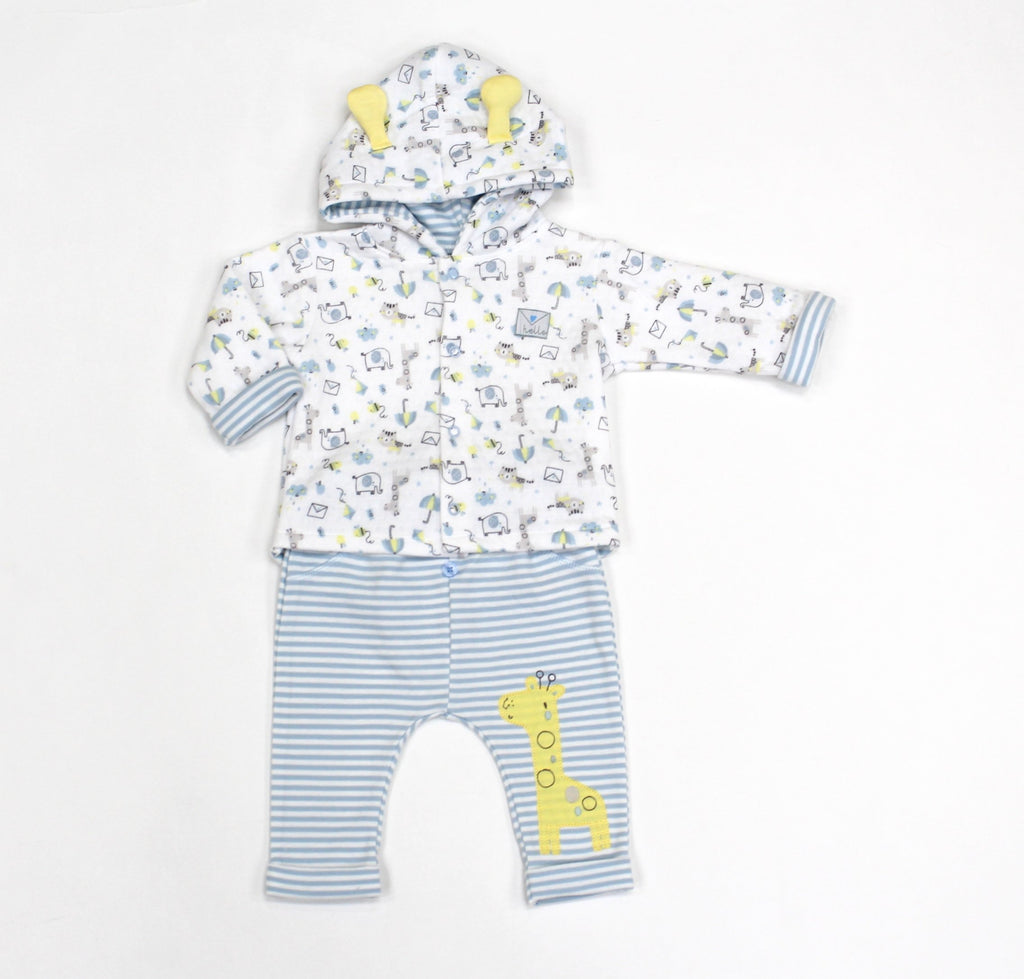 Baby Boys Quilted Hooded Jacket & Pants Set - Safari - 0-9M (L1072)