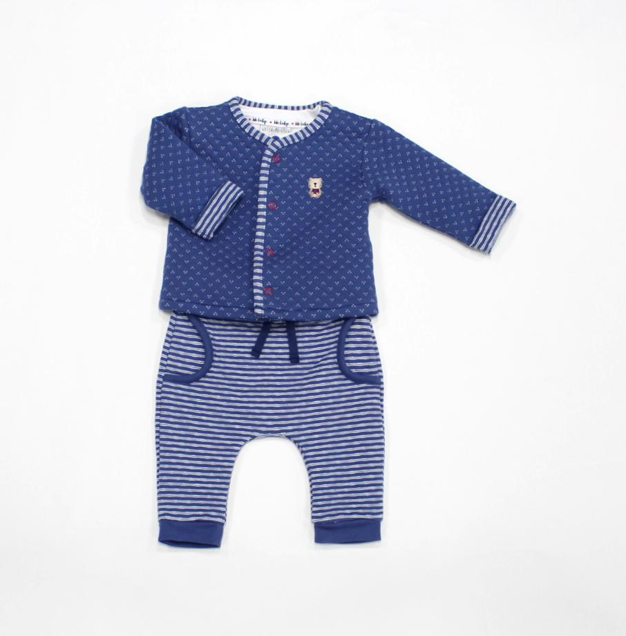 Baby Boys 3Pc Quilted Jacket, Top, & Pant Set - Teddy - 3-12M (L2082)