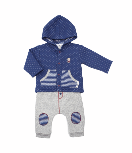 Baby Boys Quilted Hooded Jacket & Pant Set - Teddy - 3-12M (L2083)