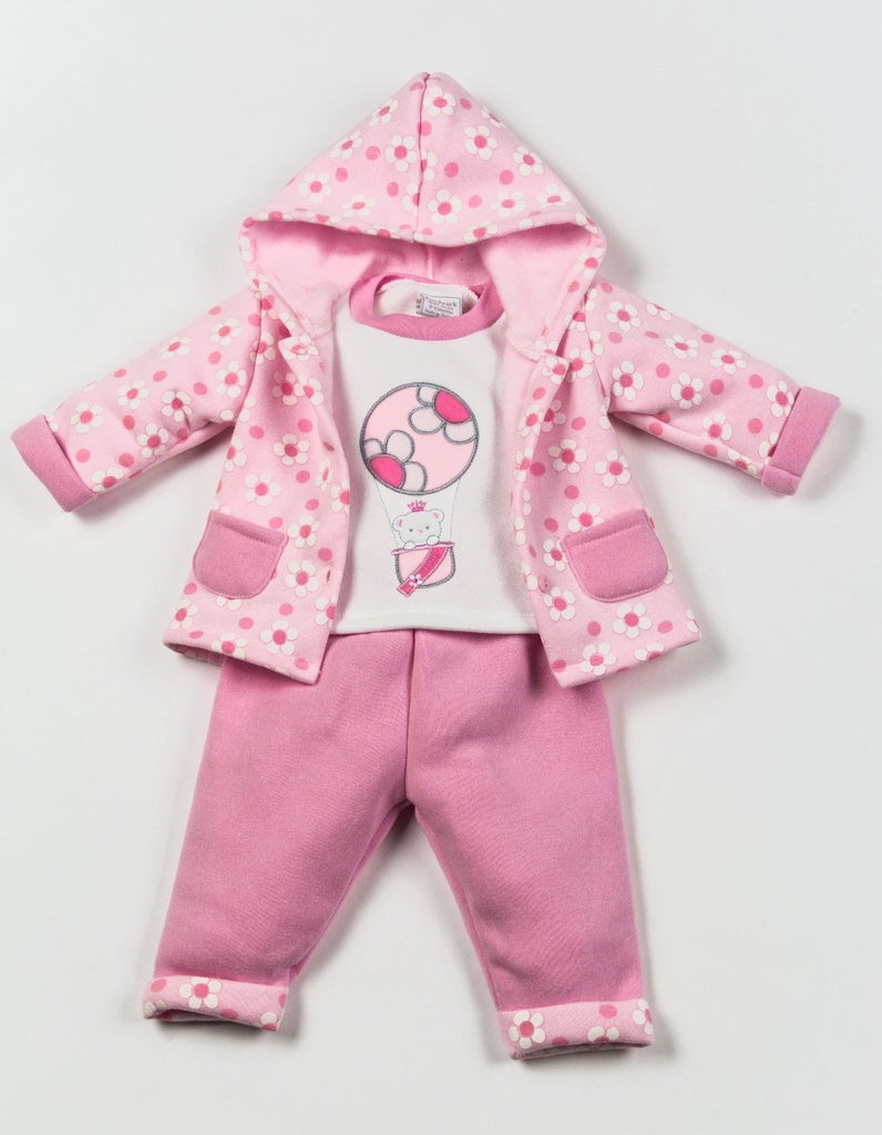 Girls 3 Pcs Hooded Jacket Set - Flowers - NB-6 Months (W1626)
