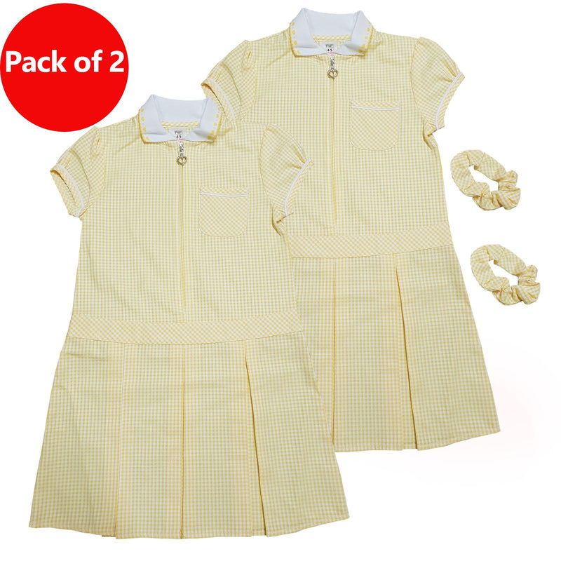 Girls Checked Yellow School Uniform Pleated Gingham Summer Dress+Hair Bobble 5-6 Years - Kidswholesale.co.uk