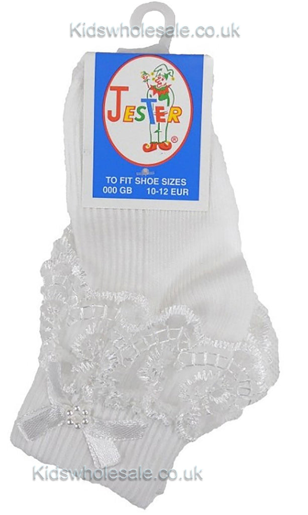 Girls White Jester Frilly Lace Socks-WH
