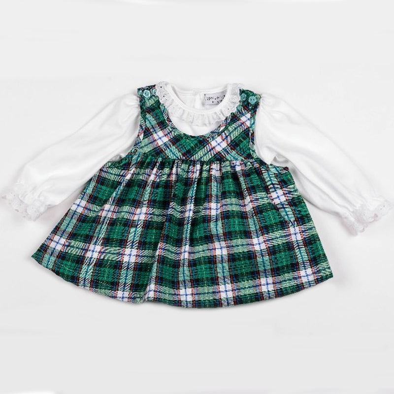 Baby Girls Check L/S Pinafore - Green Check - 0-9 Months (Y1806) - Kidswholesale.co.uk