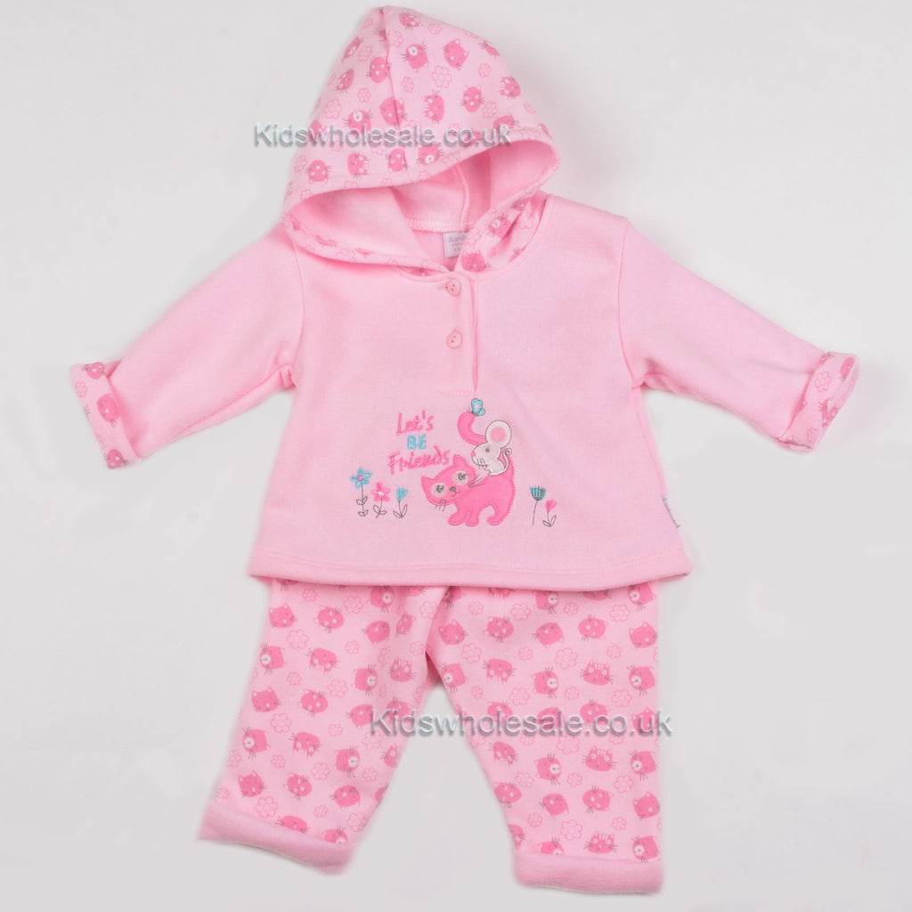 Baby Girls 2Pc Hooded Top Set - Let's be Friends 0-6 Months (Y1837)