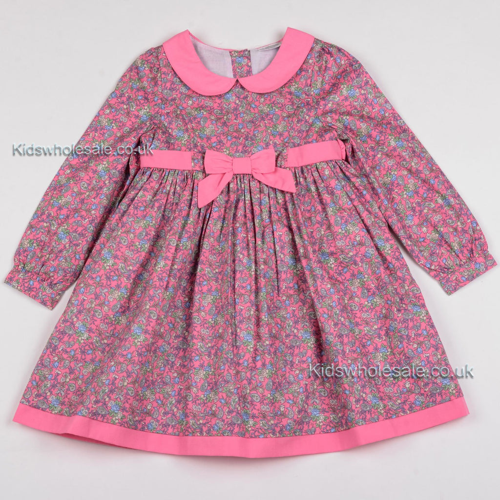 Girls Floral Winter Dress w/Bow - Pink 3-8 Years (Y5861)