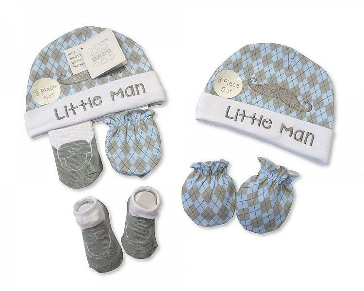 Baby Hat, Socks and Mitten Set - Little Man
