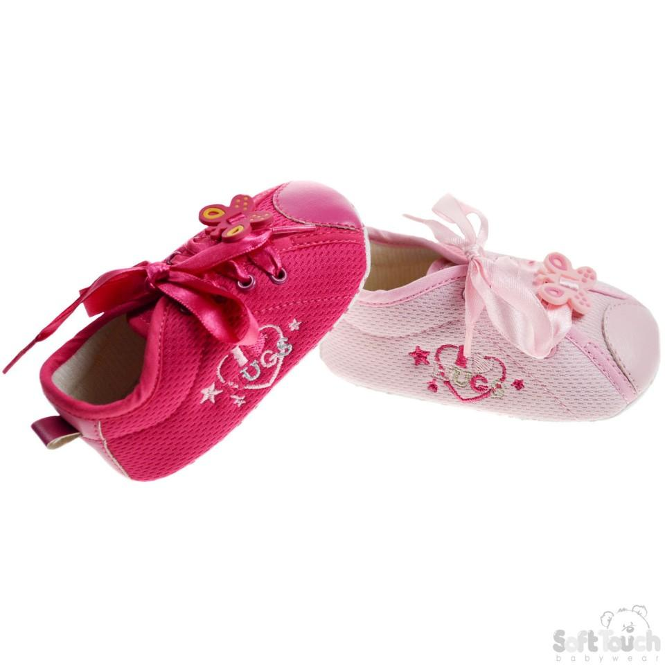 Girls Cotton Shoes W/Emb & Ribbon Laces: B1227