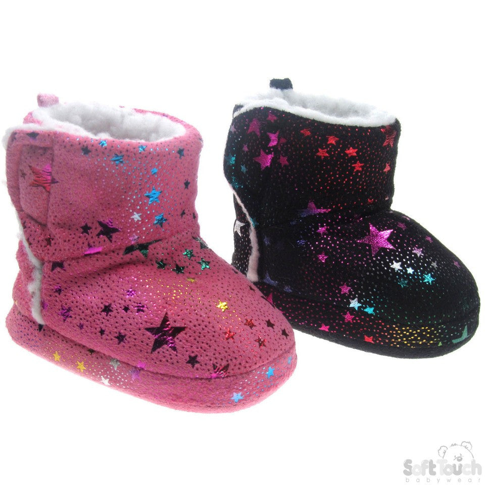 Boots w/Multicoloured Holographic Print & Velcro Fastener: B1259