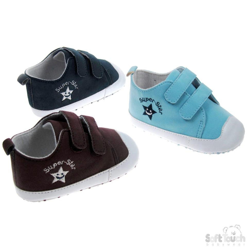 Boys Suede Shoes W/Super Star Emb 0-12 Month (B1301) - Kidswholesale.co.uk
