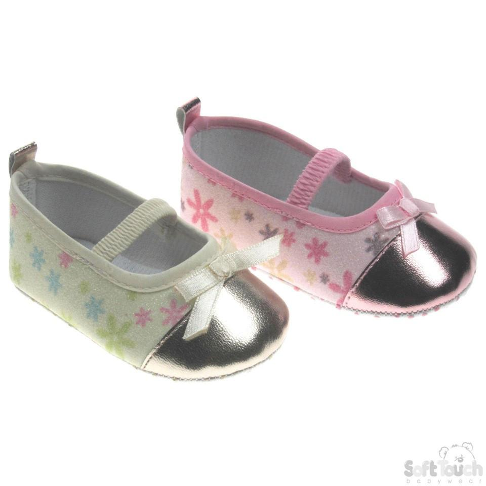 GIRLS SHINY FLOWER PATTERNED SHOES: B1337