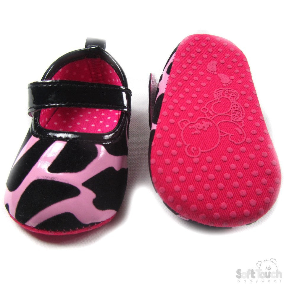 GIRLS PU/SUEDE ANIMAL PRINT SHOES: B1341-N