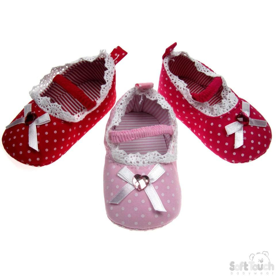 GIRLS COTTON POLKA DOT SHOES: B1345
