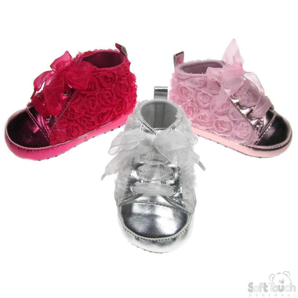 GIRLS SHINY PU ROSE TRAINERS: B1347