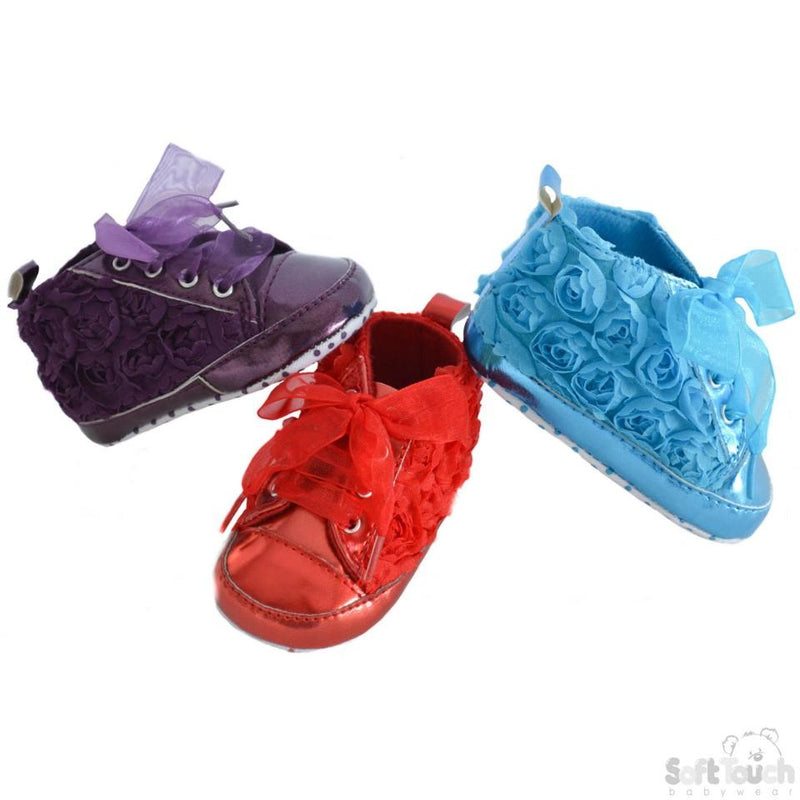 Girls Shiny PU Rose Trainers: B1348 - Kidswholesale.co.uk