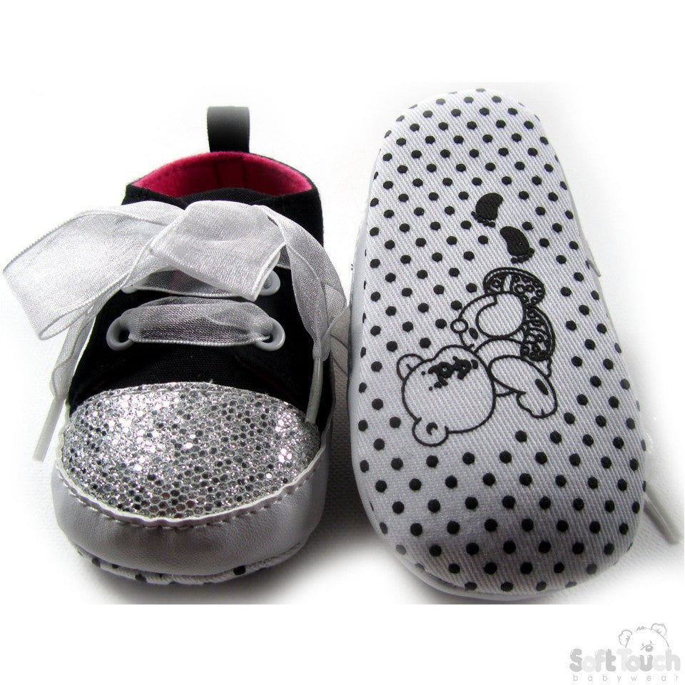 GIRLS SHINY 'BEAR' TRAINERS: B1374