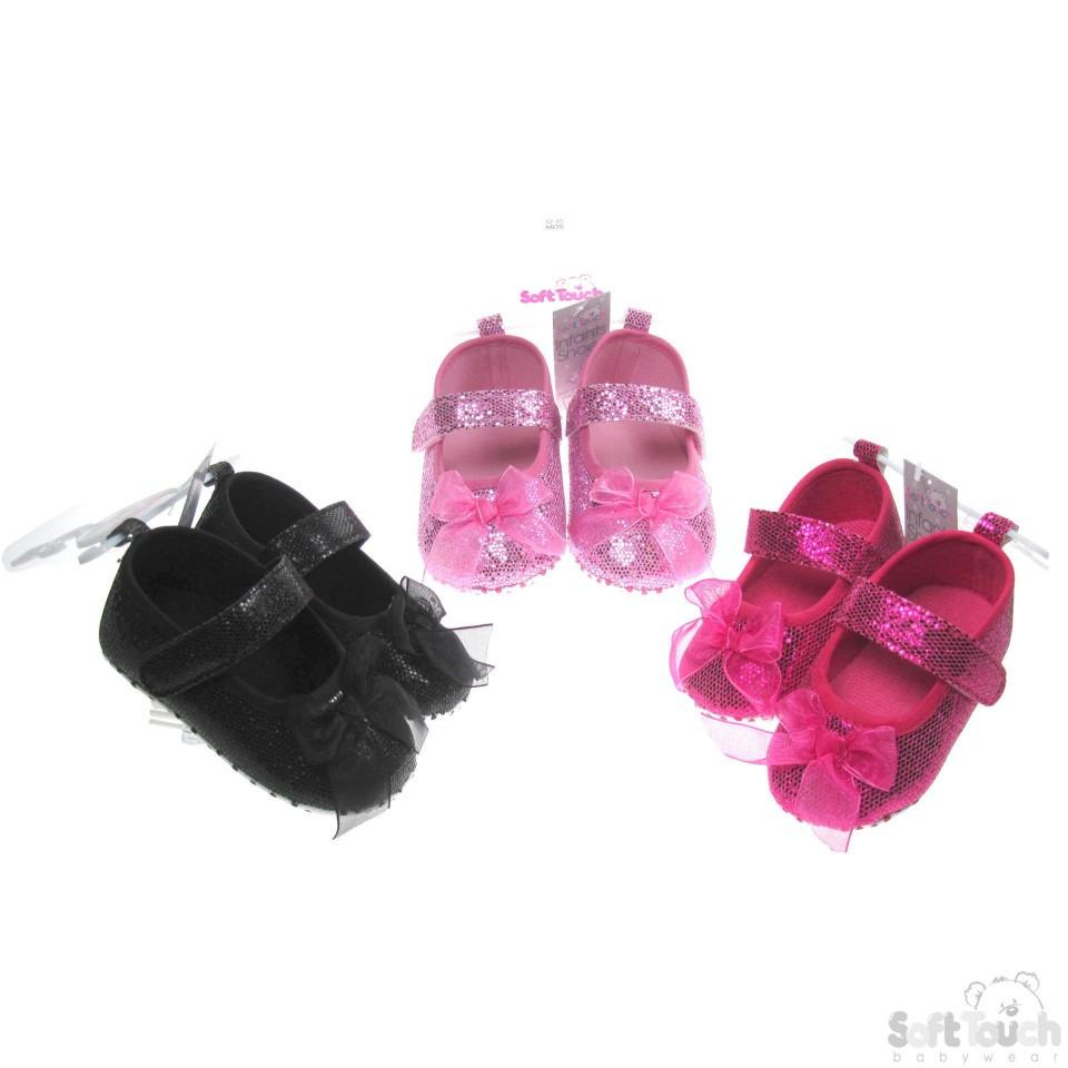 Girls Glitter Shoes W/Organza Bow & Velcro Strap (B1512)