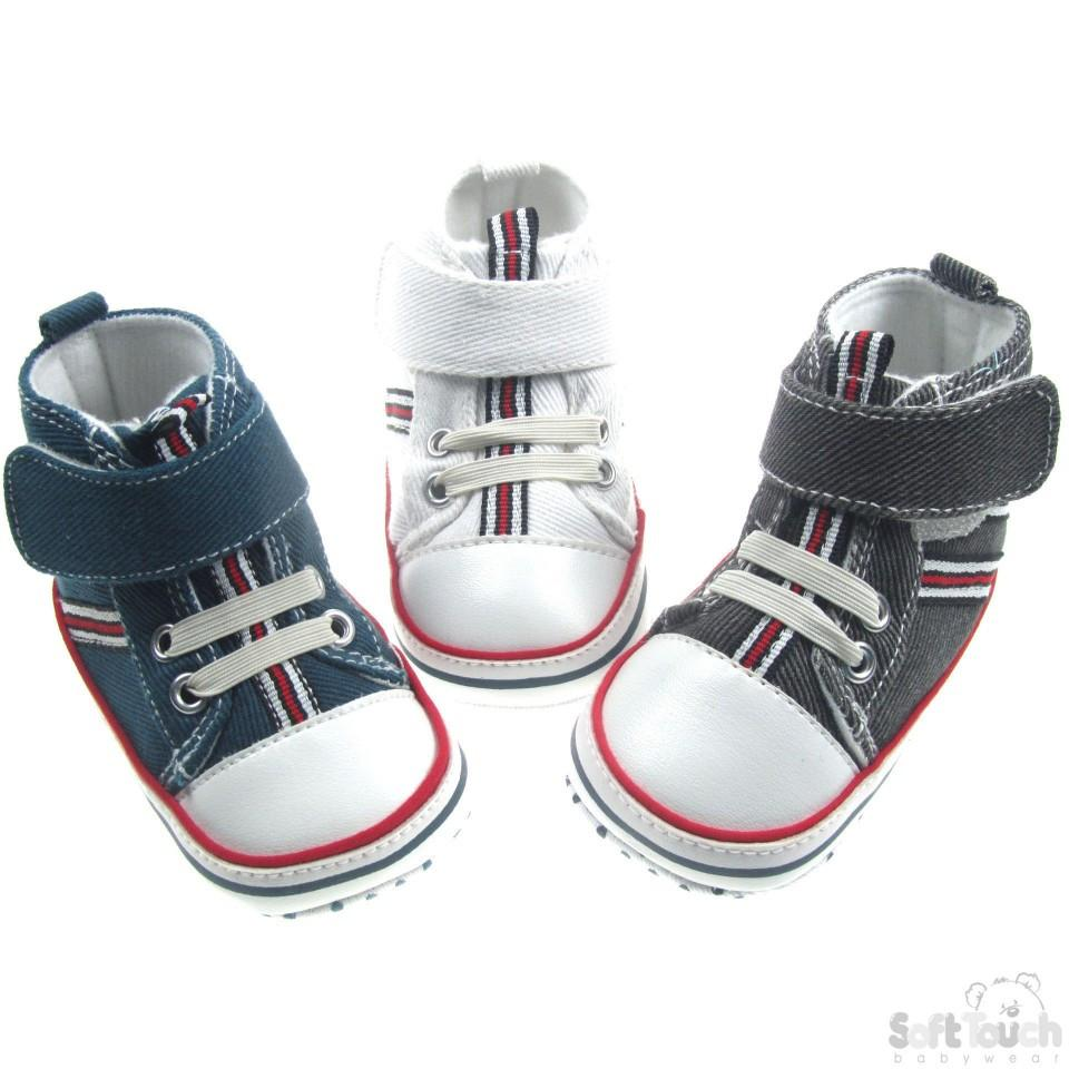 BOYS COTTON TWILL SHOES W/VELCRO FASTENER: