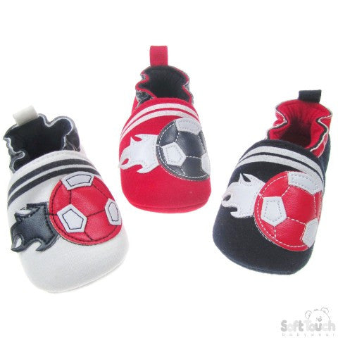 BOYS SUEDE SHOES W/FLAMING FOOTBALL: B2028