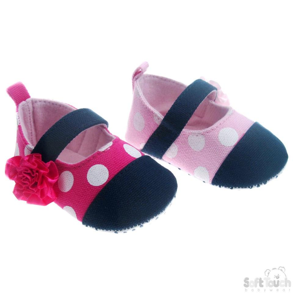 Cotton Polka Dot Shoes W/Flower & Velcro Strap: B2030-G