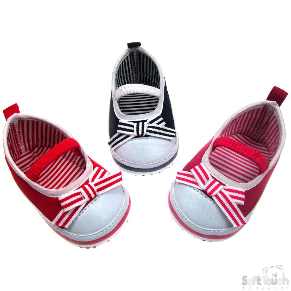 SLIP ON SHOES W/ELASTIC STRAP & STRIPY BOW: B2106