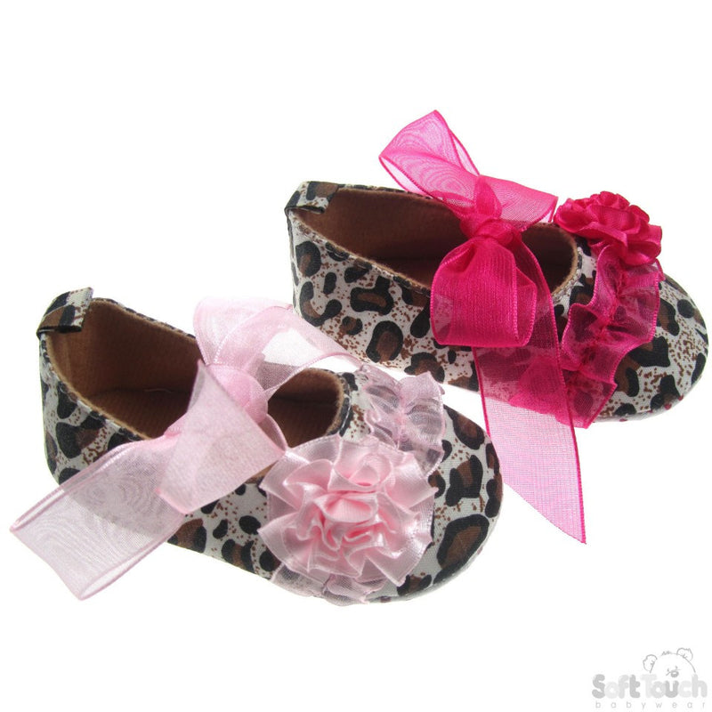ANIMAL PRINT SHOES W/ORGANZA LACE, FLOWER & ORGANZA LACE TIES: B2116