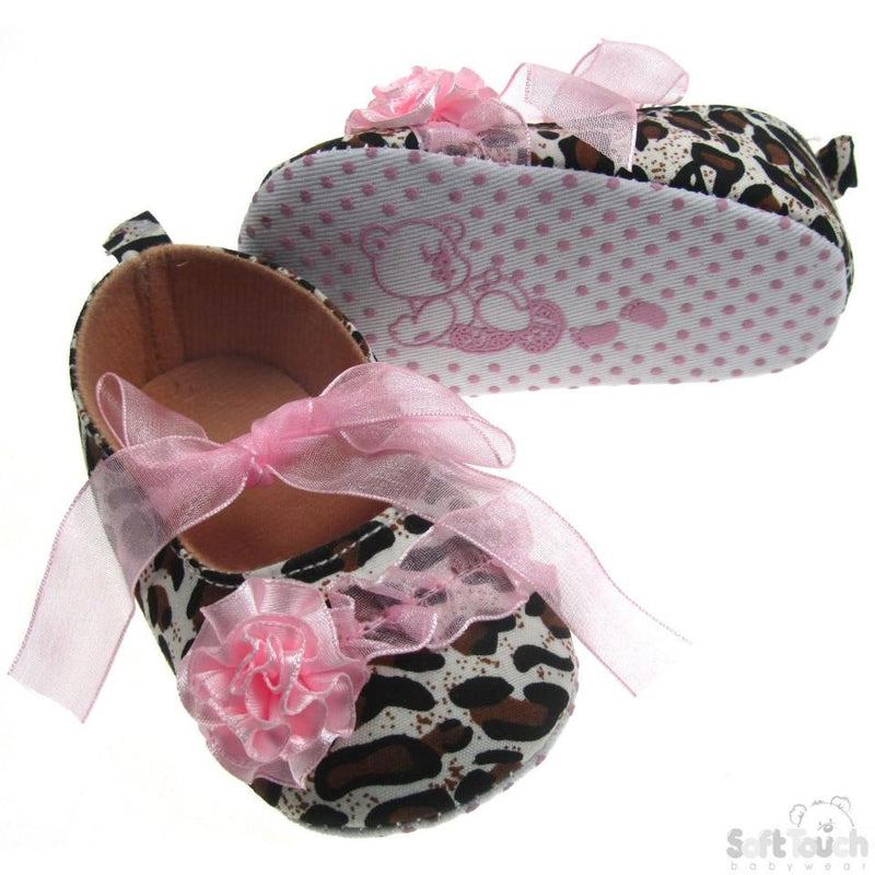 ANIMAL PRINT SHOES W/ORGANZA LACE , FLOWER & ORGANZA LACE TIES: B2116 - Kidswholesale.co.uk