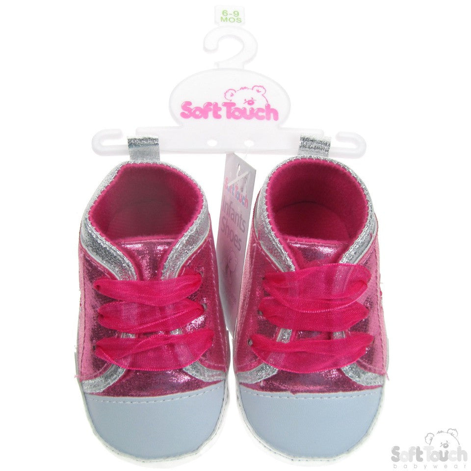 SHINY PU SHOES W/BUTTERFLY EMBROIDERY & MATCHING ORGANZA LACE: B2120
